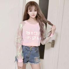 Spring Autumn Barbie Pink Letter Print Hologram Cleaar Long Sleeve Hoodies Young Girl Punk Rock Hip Hop Shirt Pullovers