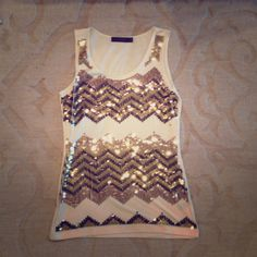 NWOT The Limited Chevron Sequin Tank Size small, NWOT The Limited Tops Tank Tops