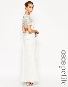 ASOS PETITE Crystal T Shirt Maxi Dress With Open Back