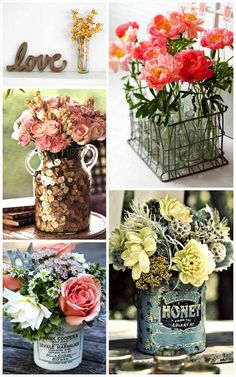 Flower decoration .. pretty but LOVE the containers!