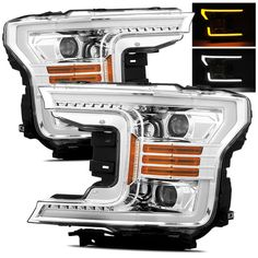 For 18-19 Ford F150 Switchback DRL/Signal LED Tube Chrome Projector Headlights #RacerInnovation