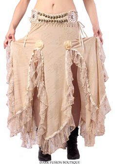 Dark Fusion Boutique Dance Skirts, Maxi Skirts, Gypsy Style, My Style, Clever Costumes, Cream Skirt, Tribal Dance, Fashion Show, Fashion Outfits