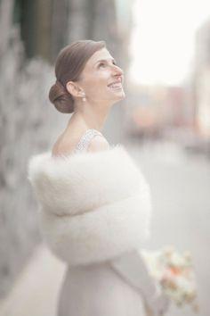 New York Wedding by Firefly Events + Elisabeth Millay Winter Wedding Fur, Winter Wedding Bridesmaids, Winter Bride, Winter Weddings, Snowy Wedding, Bridesmaid Hair, Bridal Chignon, Vintage Bridal, Vintage Fur