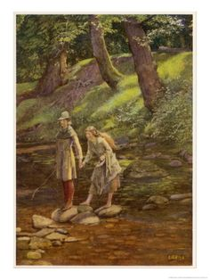 As You Like It, Rosalind and Celia and His Sister Aliena in the Forest of Arden Giclee Print by Eleanor Fortescue Brickdale at Art.com