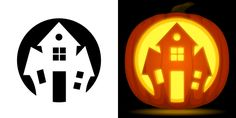 Haunted house pumpkin carving stencil. Free PDF pattern to download and print at http://pumpkinstencils.org/download/haunted-house-pumpkin-stencil/
