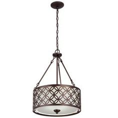 Portfolio 18-in W Bronze Pendant Light with Fabric Shade