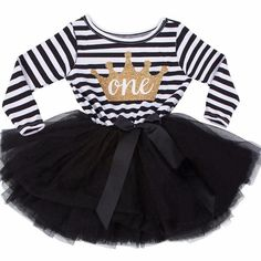 This gorgeous tutu dress features a gold shimmery crown with your choice of one, two, or three in the center. With a pink and white striped long sleeve bodice and featuring a light full pink tutu with an off center pink ribbon bow around the waste. This is just for the dress only, headband is separate.