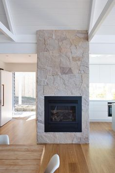 We have a brick breasted fireplace at our new house - the plan is to clad it in sandstone like this! Image via Beach Fireplace, Home Fireplace, Fireplace Surrounds, Fireplace Design, Fireplaces, Country Fireplace, Style At Home, Sandstone Fireplace, Limestone Fireplace
