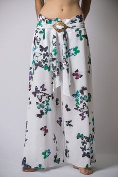 Women's Thai Harem Palazzo Pants in Butterflies Turquoise – Harem Pants