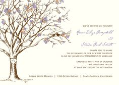 Fall Tree Love Birds Wedding Invitation Suite in Purple Orange Ivory Off White Linen. $280.00, via Etsy.