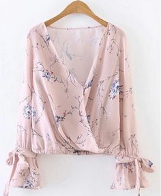 Shop Pink Floral Print V Neck Wrap Blouse With Bow online. SheIn offers Pink Floral Print V Neck Wrap Blouse With Bow & more to fit your fashionable needs. Men's Casual Fashion Tips, Casual Outfits, Blouse Styles, Blouse Designs, Pretty Outfits, Cute Outfits, Floral Tops, Hijab Fashion, Fashion Outfits