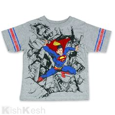 Superman Braking Trough Rocks Boys Shirt. #DcComics  #BoysClothing