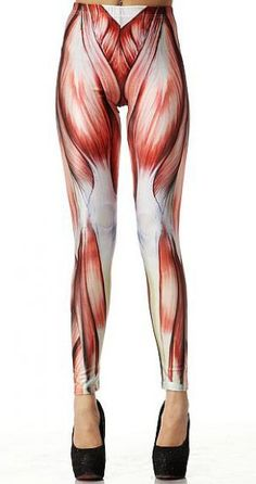 """""""Hey, would you look at that juicy piece of meat?""""  Red Muscle Print Elastic Leggings - sold at a fashion site, not a halloween costume site.  Wear with a muscle shirt and platform pumps for a night out clubbing?  Available for purchase at Sheinside.com"""