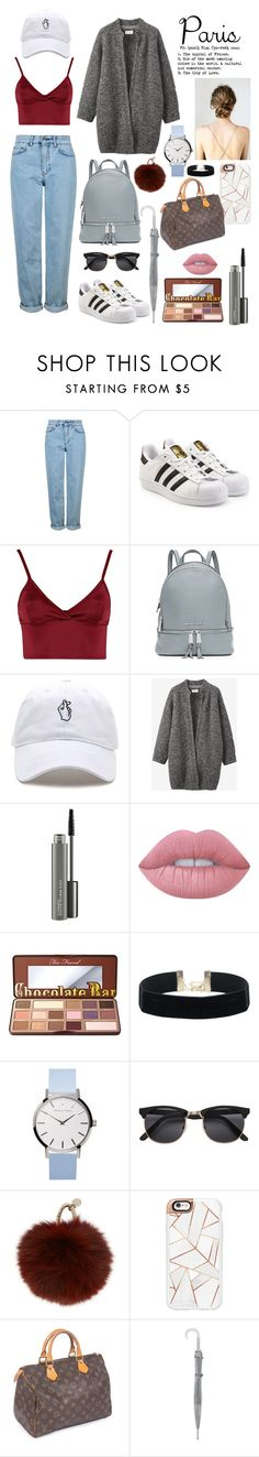 """""""Untitled #10"""" by badass-clifford ❤ liked on Polyvore featuring Topshop, adidas Originals, Lipsy, MICHAEL Michael Kors, Toast, MAC Cosmetics, Lime Crime, Too Faced Cosmetics, H&M and Yves Salomon"""