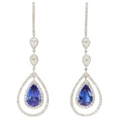 Rare Royal Blue Tanzanite Diamond Gold Drop Earrings   From a unique collection of vintage drop earrings at https://www.1stdibs.com/jewelry/earrings/drop-earrings/