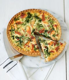 Hot smoked salmon tart recipe - I used canned wild salmon and made my own tart dough which I blind baked before filling. It was great, simple, and my toddler scarfed it up. Served a mixed green salad on the side. Quiche Recipes, Tart Recipes, Salmon Recipes, Fish Recipes, Seafood Recipes, Cooking Recipes, Recipies, Savory Pastry, Savory Tart