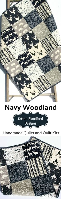 Woodland Boy Crib Bedding, Navy Blue Grey Gray Woodland Animals Deer Buck Bears Forest Animals, Patchwork Baby Quilt, Boy Woodland Quilt for Sale, Baby Quilt Kits, Toddler Quilt Kits, Beginner Simple Easy Quilting Project, Craft Ideas, Sewing Project by Kristin Blandford Designs #woodlandnursery #navyblue #babyboy #personalized