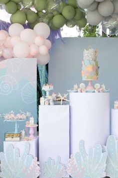 Take a look at this gorgeous under the sea birthday party! Love the dessert table!! See more party ideas and share yours at CatchMyParty.com #catchmyparty #partyideas #donutparty #donuts #undertheseaparty #mermaids #mermaidparty #girlbirthdayparty Birthday Drinks, 6th Birthday Parties, Party Drinks, Girl Birthday, Birthday Ideas, Sea Cakes, Mermaid Cakes, Donut Party, Sea Photo