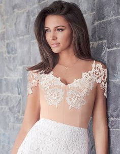 Lipsy Love Michelle Keegan lace trim body in bardot style and stretchy construction for a comfy, form-flattering fit. Featuring sweetheart detail, pair this beautiful top with lace placement midi skirt.