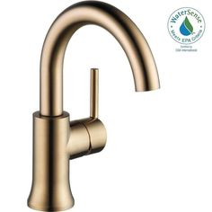 Delta Trinsic Single Hole Single-Handle Bathroom Faucet with Metal Drain Assembly in Champagne Bronze