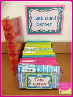 The MOTHERLOAD of all task cards & classroom organization. This would be great for storing three part cards for Montessori as well. Classroom Organisation, Teacher Organization, Classroom Setup, Teacher Tools, Classroom Activities, Classroom Management, Storage Organization, Future Classroom, Classroom Arrangement