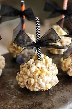 Caramel Marshmallow Popcorn Balls SimplyGloria.com Super soft, ooey and gooey delicious!