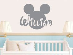 Wall Decal Vinyl Sticker Decals Art Home Decor Design Mural Disney Personalized Custom Baby Name Head Mice Ears Mickey Mouse Gift Kids