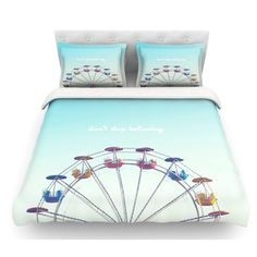 Don't Stop Believing by Libertad Leal Ferris Wheel Featherweight Duvet Cover