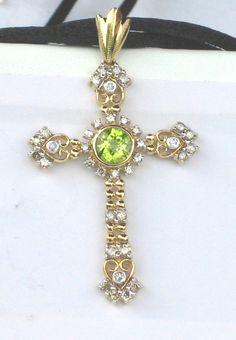 10K Gold Peridot Diamond Cross Pendant