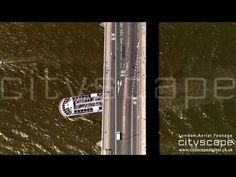 London Aerial Footage - Bridge over Thames London Bridge, London City, Aerial Footage, London Eye