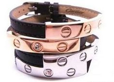 How fun are these leather Cartier bracelets..with Love
