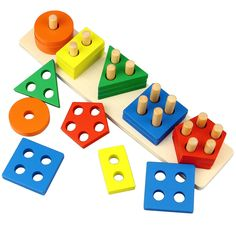 Dreampark Wooden Educational Toys, Wooden Shape Color Sorting Preschool Stacking Blocks Toddler Puzzles Toys Birthday Gifts for Boys and Girls Age 1 2 3 ** For more information, visit image link. (This is an affiliate link)