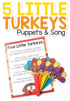 Five Little Turkeys Puppets and Poem - From ABCs to ACTs