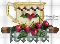 Cross stitch pattern, teacup.