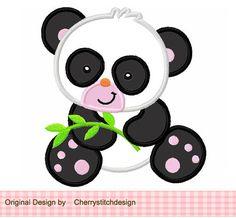 Panda digital applique-4x4 5x7 6x10-Machine Embroidery Applique Design