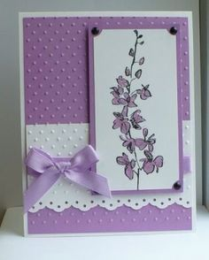 handmade card: Echoes of kindness . purple and white . embossing older texture . sweet look . Stampin' Up! Making Greeting Cards, Greeting Cards Handmade, Purple Cards, Embossed Cards, Stamping Up Cards, Handmade Birthday Cards, Sympathy Cards, Paper Cards, Flower Cards