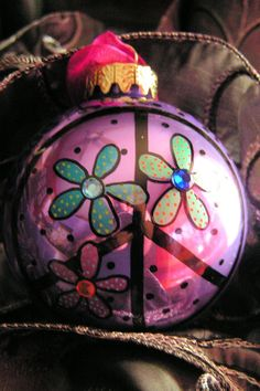 Peace.....Whimsical Hand Painted Ornament. $17.95, via Etsy.