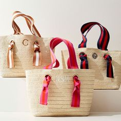 Ribbon Straw Beach Tote