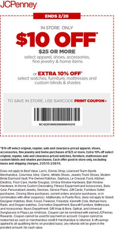 Pinned February 25th: $10 off $25 at JCPenney #coupon via The #Coupons App