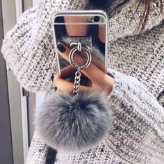 Mirror iPhone case with ring and fur ball chain - for stylish girls
