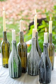 outdoor party inspiration: Lucky Magazine(Diy Candles Sticks)