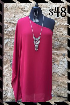 """Elegant One Shoulder Dress! The """"it"""" color (Marsala/richer in person) makes this the perfect Fall """"going out"""" dress!!! Looks great with wedges, booties or cowboy boots (black or brown) and turquoise jewelry!!! $48. S-M-L"""