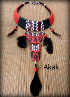 American Native style polymer clay necklace by Akakbijoux