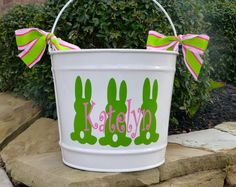 Personalized+Easter+Bucket++10+QT+by+limetreegifts+on+Etsy,+$28.00