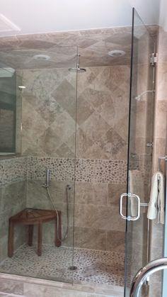 Tiled Shower and Seat in Bathroom Remodel in Old Lyme CT www.shawremodeling.com #showerseat #remodel #bathroom