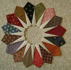 Scrappy star Dresden plate quilt block