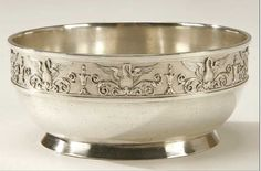 A FABERGE SILVER BOWL Moscow circa 1908-. In the Neo-Classical style, the rim decorated with alternating swans and inverted bell flowers and resting on a raised rim base.