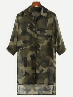 14$  Watch here - http://diea8.justgood.pw/go.php?t=2910 - Olive Green Camo Print High-Low Chiffon Blouse