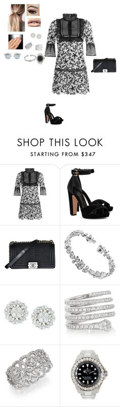 """""""Untitled #242"""" by styleremix ❤ liked on Polyvore featuring self-portrait, Alexander McQueen, Chanel, Cartier, Gucci, De Beers, Rolex and Christian Dior"""