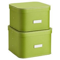 """Unique and functional for a closet, office or craft room, our Oskar Boxes will look great anywhere you use them! The set of two can be used on a shelf or stacked for space-saving efficiency. Exceptionally durable, each is reinforced with rivets and stitching. Designed to fit 12"""" and 16"""" elfa Shelves."""